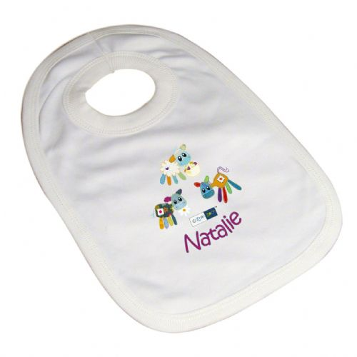 Personalised Cotton Zoo Girls Farmyard Bib